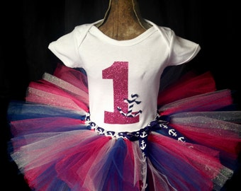 First birthday tutu outfit, girl's nautical birthday, anchor smash cake outfit, anchor tutu, swim party, girl's anchor birthday, smash cake