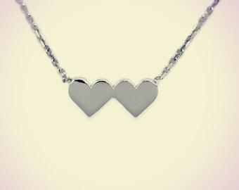 14K Gold Plain Double Heart Pendant Small, Heart Pendent,