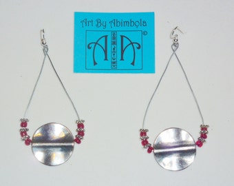 Silver tribal earrings with accent beads - multiple colours available