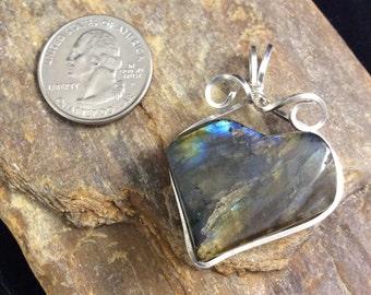Labradorite Heart Pendant, Sterling Silver Pendant, Boho Chic, Black Iridescent Gemstone Pendant, Gothic Heart Pendant, Black Heart Pendant