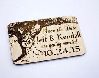 Save The Date Magnets, Wedding Save-The-Date-Magnet, Oak Tree, Wooden Magnet, Wedding Magnet, Wedding Favor, Backyard Wedding, Rustic Card