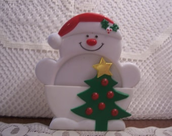 Four Hard Plastic Snowman Coasters