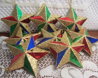 Eight Hard Plastic Multi-Color Star Christmas Ornaments