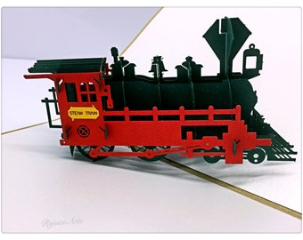 3D Pop Up Steam Train Locomotive Card