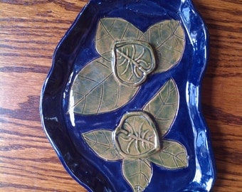 Handmade Ceramic Soap Dish in Blue with Green Leaves