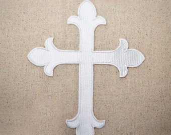 "XL - Religious Cross - Fleur De Lis - White -  8.5"" tall x 7"" wide - Iron on Applique - Embroidered Patch - WAC100"