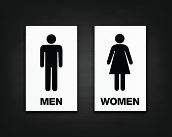Two Pack Restroom Decals - Vinyl Bathroom Decals, Men & Womens Restroom Signs