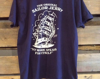 Large Sailor Jerry My Work Speaks for itself Navy Tee