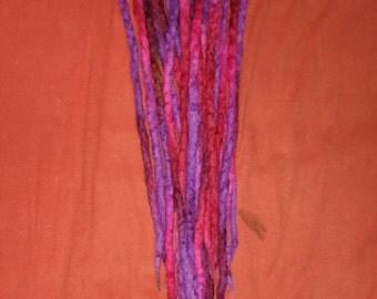 10DE pink purple wool dreadlocks