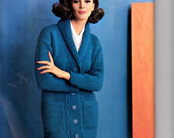 Women's Retro Button Down Cardigan Knitting Pattern from the 60s