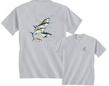 5 Yellowfin Tuna and Yellowtail Fish Profiles Fishing T-Shirt FREE SHIPPING in usa