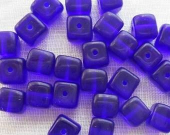 Lot of 25 Cobalt Blue Cube Beads, 5 x 7mm Czech glass beads, C1225