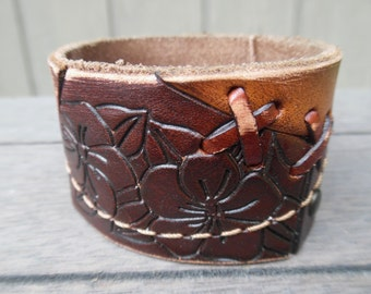 Floral Stitched Patchwork Stamped Brown Tan Upcycled Leather Cuff Bracelet