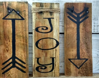 Boho arrow signs, Love pallet signs,  rustic pallet signs, set of 3 pallet signs, boho set of 3  signs, arrow and word set