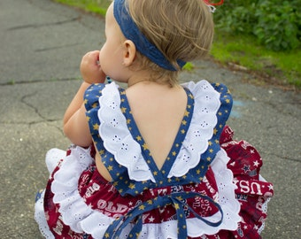 Patriotic Ruffled Romper/Sunsuit With Red, White, and Blue / Baby Fourth of July Outfit