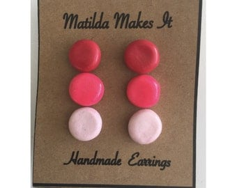 Set of 3 Pink Ombré studs - Handmade Polymer Clay Earring Set