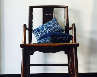 Indigo Hmong Batik Shibori Pillow - Vintage Blue Boro Style - hand dyed/ Natural Plant dyes - Cotton/ Hand woven fabric - Patchwork/ Sewing