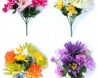 Artificial Flowers Gerbera Chrysanthemum Carnation Posy Bouquet Silk
