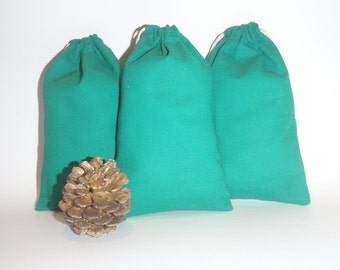 Green Cotton Bags, Drawstring Pouch, Gift Bags, Favor,  Set of 20, Size 4 x 5 inch Favor Bags, Drawstrig Pouch