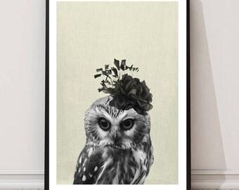 Owl Print, Childrens wall art, Owl art, Animal print, nursery owl print, minimal, wall art decor, digital print, printable art