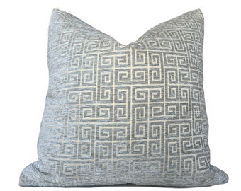 "Robert Allen Greek Key Geometric Cloudy Blue Gray Chenille Velvet Pillow Cover, Made to fit Lumbar 16"" 18"" 20"" 22"" 24"" Cushions"