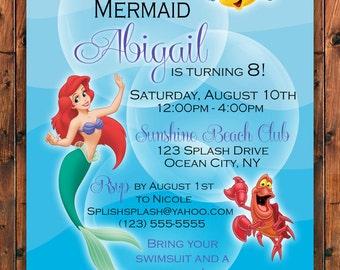 Mermaid Invitation, Little Mermaid Invite, Ariel Invitation, Under The Sea Invitation, Birthday Invitation, Little Mermaid Birthday Invite