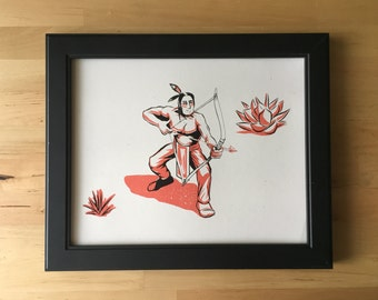 Native American Retro Inspired Art 8 by 10 inches