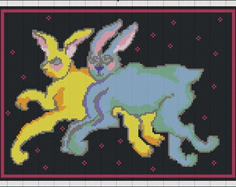 Digital Double Rabbits Needlepoint or Cross Stitch Pattern