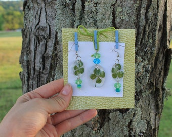 Four Leaf Clover Set (Pendant and Earrings)