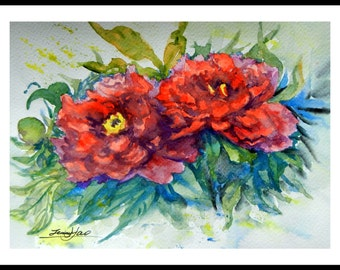 """Original Water Color Painting, Red Peony flowers, With mat 10""""x8"""", 150220"""