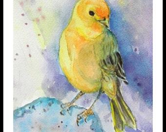 "Original Water Color Painting, Yellow Bird, With Mat 10""x8"", 150224"