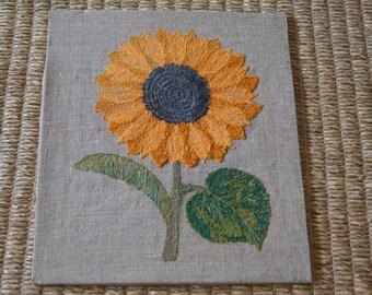 Vintage 1960's - Embroidered Sunflower on Burlap - 14x12 - handmade - boho deco - art