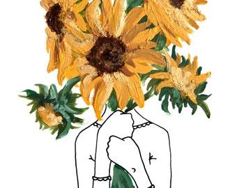 Florence and the SUNFLOWER // ART PRINT Garden Flowers Original Watercolor Gouache Print