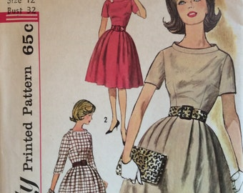 CLEARANCE!!  Simplicity 4021 misses dress w/bag and bel size 12 bust 32 vintage 1960's sewing pattern Uncut  Factory folds
