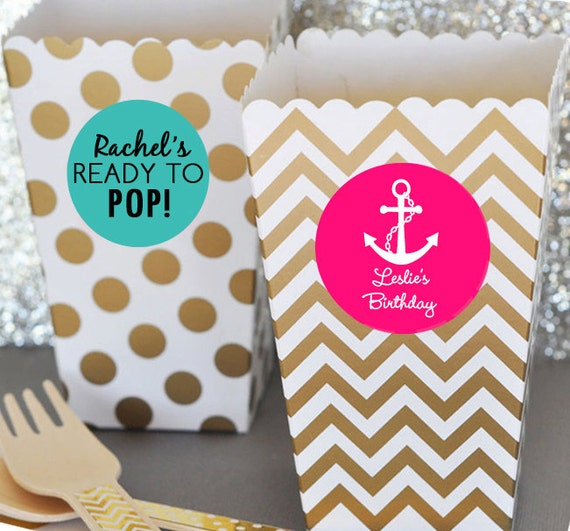 12 Ready To Pop Baby Shower Popcorn Box Blush Pink And Gold