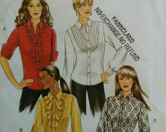 Size16-18-20-22 Ruffle Pleated Flounce  or Plain Front Shirt Womens Sewing Pattern