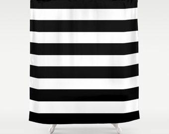 Black and White Stripe Shower Curtain Bathroom Shower Curtain Striped Shower Curtain Striped Bathroom Decor Girls Shower Curtain Bold Stripe