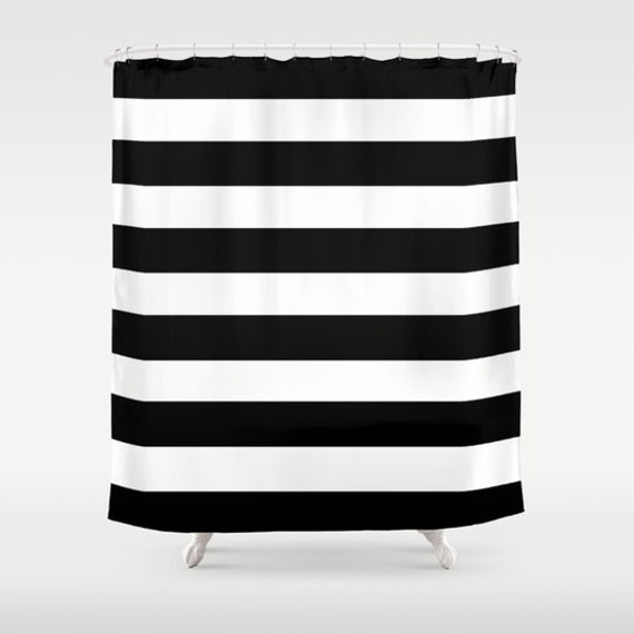 Black and White Stripe Shower Curtain Bathroom Shower Curtain Striped ...