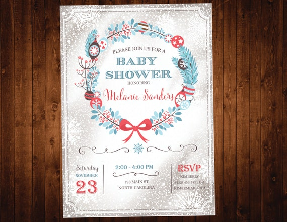 Holiday Christmas Baby Shower Invitation  - Snowflake Baby Shower Invite - Winter Wonderland Baby Shower