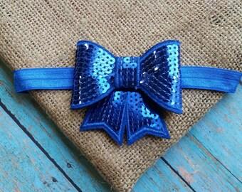 Blue Sequin Bow Headband, blue bow headband, baby headband, toddler headband, girls headband, blue headband, bow headband, headband