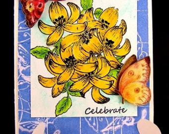 Faux Tile Floral Greeting Card