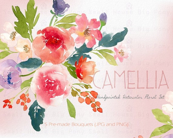 Watercolour Floral Clipart. Handmade, watercolour clipart, wedding diy elements, flowers - Camillia Bouquets