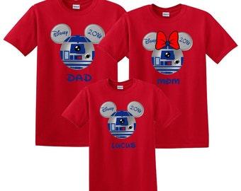 Disney Mickey and Minnie R2D2 Stars Wars Family Vacation T-Shirt DisnylandShirt, Disney Shirt, birthday shirt, Disney Custom T Shirt, Cruise