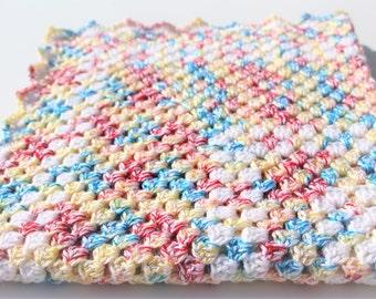 Rainbow Baby Blanket, Crochet Baby Blanket, Granny Square, Red Yellow Blue, Rainbow Blanket, Baby Blanket, Crochet Blanket, Handmade Blanket