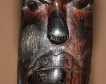 Vintage Hand Carving Wood Male Head Statuette