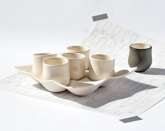 Set Of Cups, Porcelain Cups, Serving Set, Stoneware Set, Shot Glasses, Wedding Party Glasses, Party Tableware, Cup Set, Japanese Tea Set