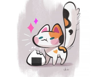 Onigiri Kitty - Art Print