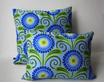 Cushion, Flower, abstract, 50 x 50 cm, lightblue, green