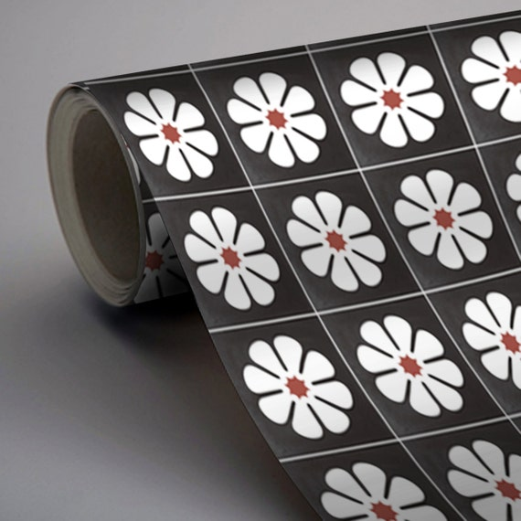 vinyl floor tile sticker floor decals carreaux ciment encaustic marguerite tile sticker pack. Black Bedroom Furniture Sets. Home Design Ideas
