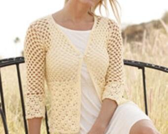 Crochet Buttercup Women's Cotton Cardigan Sweater with Fan Design, 3/4 Sleeve, Custom Order, Handmade